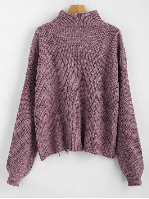 shop Lace Up Plain Keyhole Sweater - WISTERIA PURPLE ONE SIZE Mobile