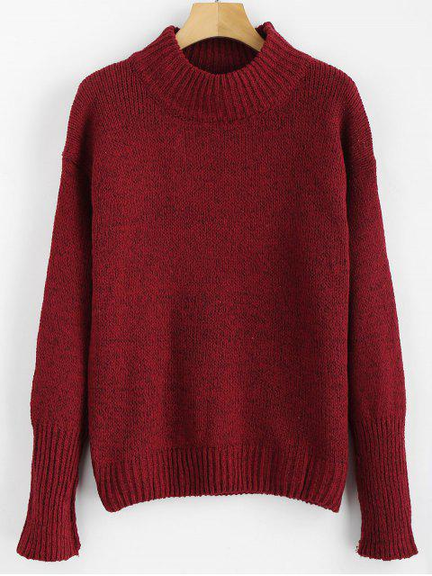 shops Mixed Yarn Sweater - RED WINE ONE SIZE Mobile
