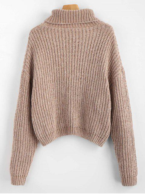 unique Pullover Turtleneck Chunky Sweater - CAMEL BROWN ONE SIZE Mobile