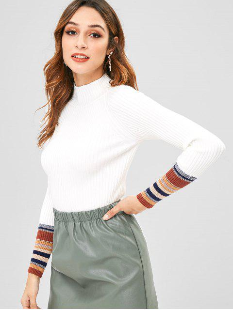 new Striped Trim Slim Ribbed Sweater - WHITE ONE SIZE Mobile