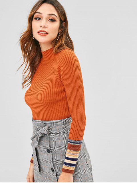 outfit Striped Trim Slim Ribbed Sweater - BRIGHT ORANGE ONE SIZE Mobile