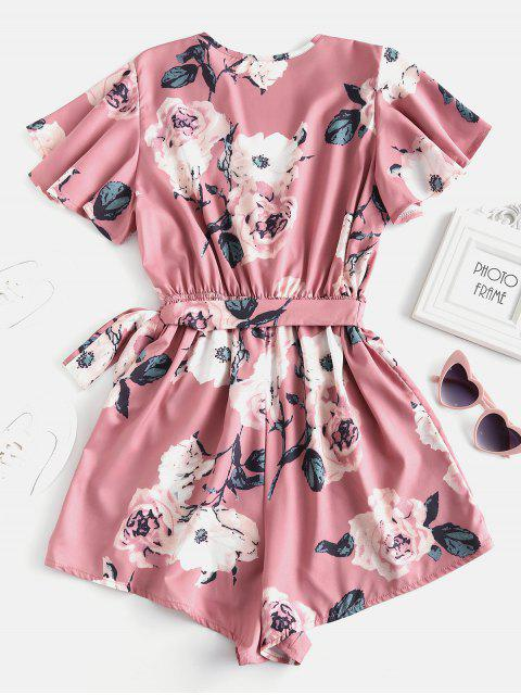outfit Plunging Neck Floral Print Layered Romper - PINK S Mobile