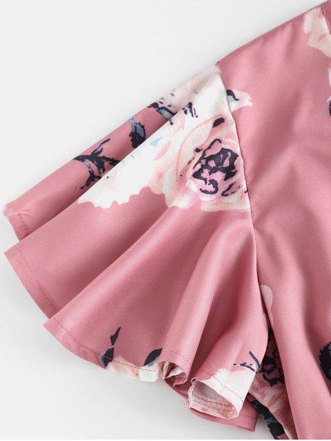 shop Plunging Neck Floral Print Layered Romper - PINK L Mobile