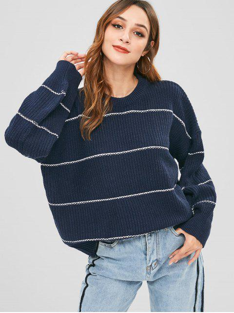 buy Stripe Knit Oversized Sweater - MIDNIGHT BLUE ONE SIZE Mobile