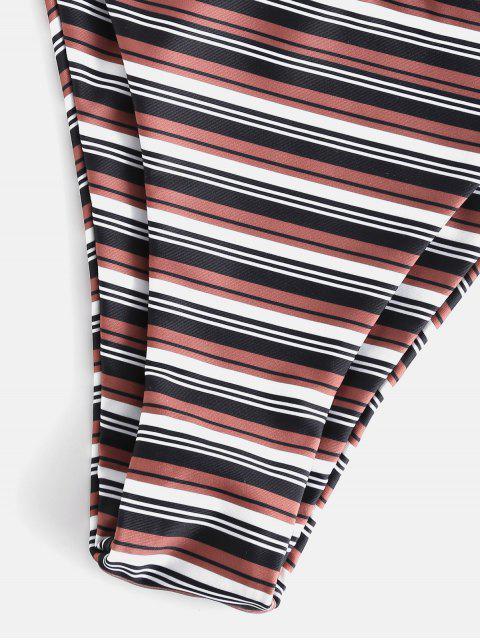 lady ZAFUL Stripe High Cut Bikini Set - MULTI M Mobile