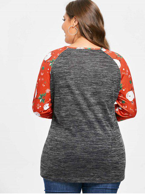 Plus Size Christmas Printed Marled T-shirt - 黑暗的板岩灰色 3X Mobile