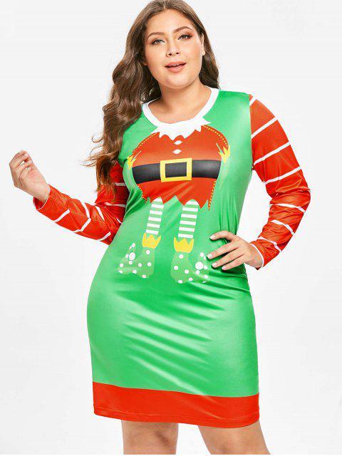 Plus Size Long Sleeves Santa Claus Christmas Dress - 多 5X Mobile