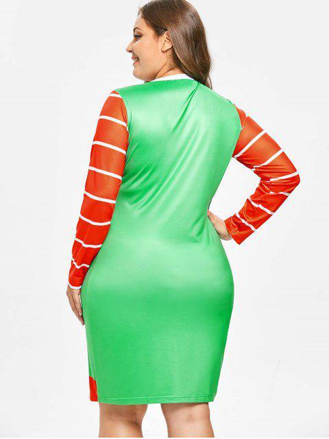 Plus Size Long Sleeves Santa Claus Christmas Dress - 多 4X Mobile