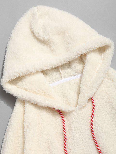lady Kangaroo Pocket Plain Oversized Faux Fur Hoodie - WARM WHITE L Mobile