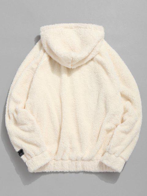 chic Kangaroo Pocket Plain Oversized Faux Fur Hoodie - WARM WHITE M Mobile