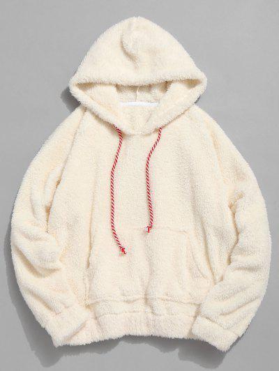 Kangaroo Pocket Plain Faux Fur Hoodie - Warm White L