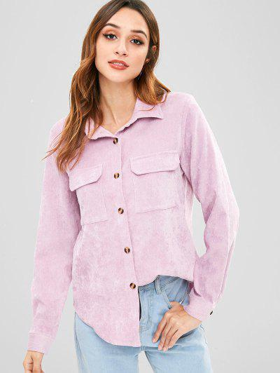 ZAFUL Flap Pockets Corduroy Shirt