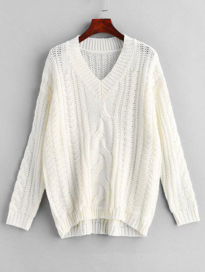 33e8aa18d9a ZAFUL V Neck Cable Knit Sweater - White S ...
