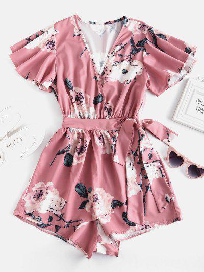 Mergulhando Neck Floral Print Layered Romper - Rosa S