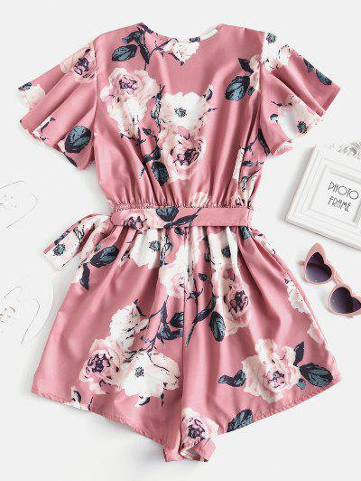 a627549a20 ... Plunging Neck Floral Print Layered Romper - Pink S Flash sale HOT