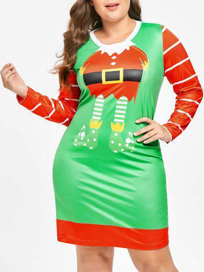 Vestido De Natal Plus Size Com Mangas Compridas - Multi 3x
