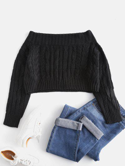Chunky Cable Knit Off Shoulder Sweater - Black