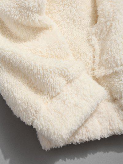 Kangaroo Pocket Plain Oversized Faux Fur Hoodie