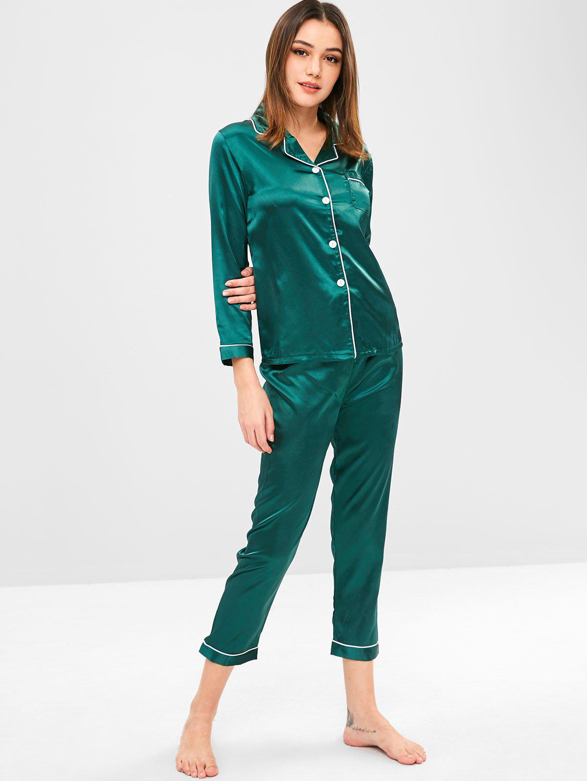 Satin Pocket Shirt and Pants Pajama Set
