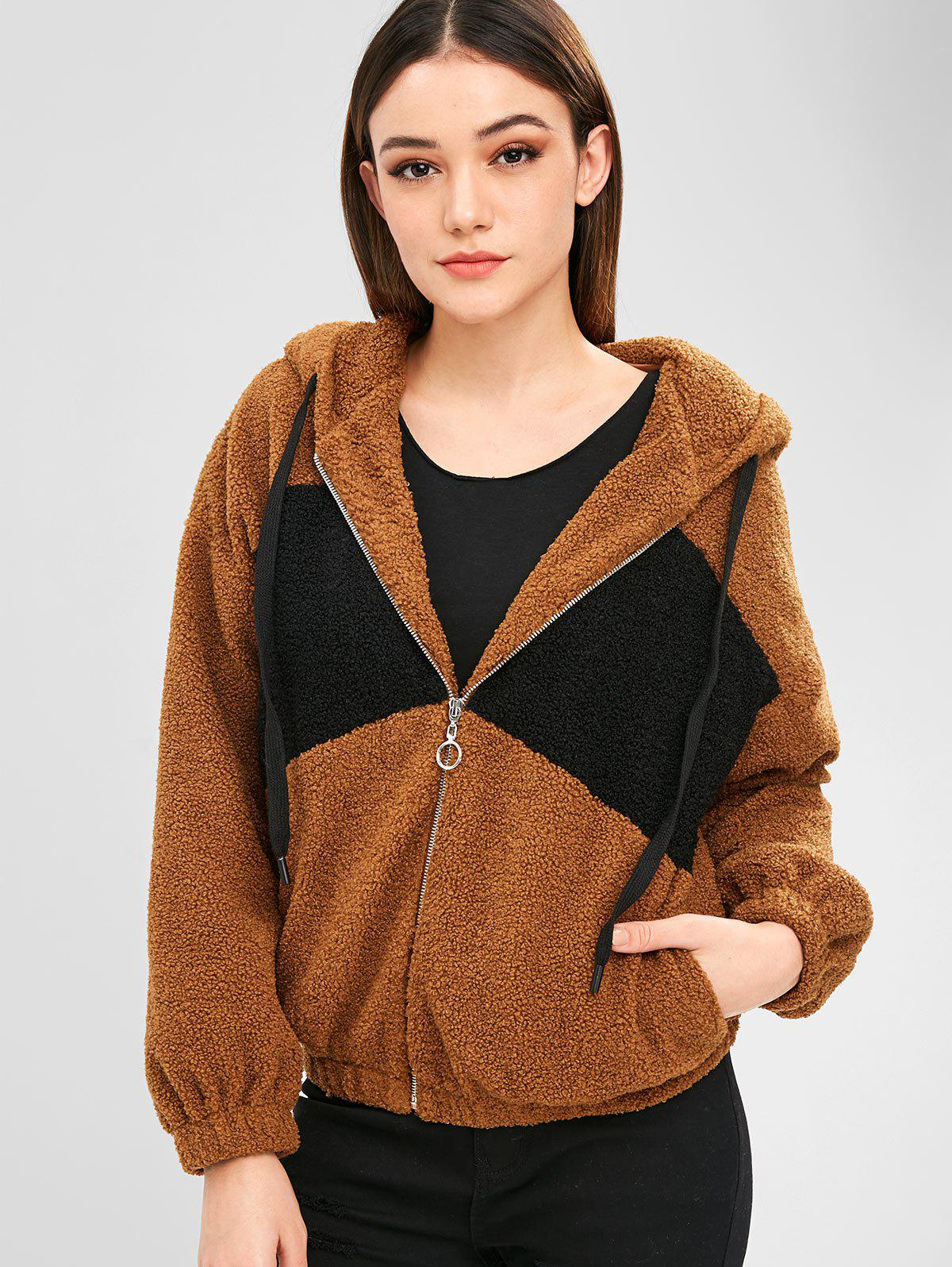 ZAFUL Two Tone Zip Up Fluffy Teddy Coat, Brown