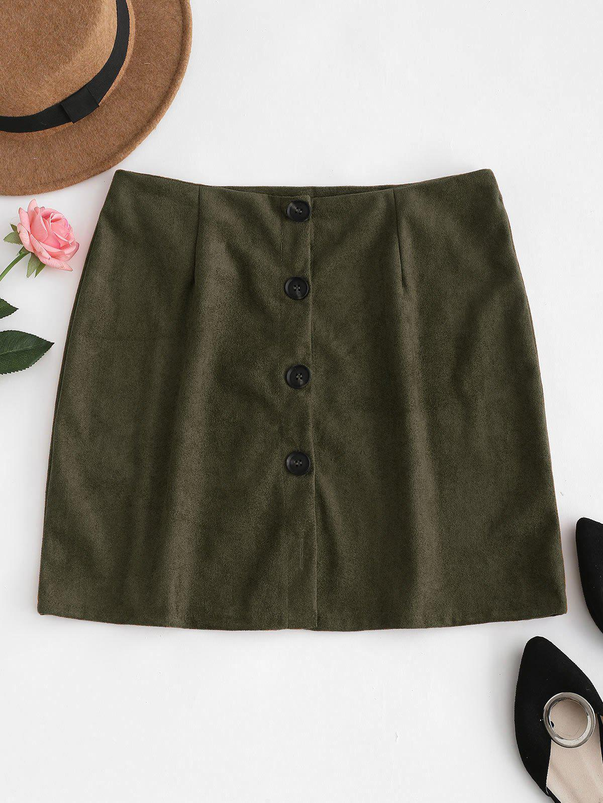 Button Down Suede Skirt