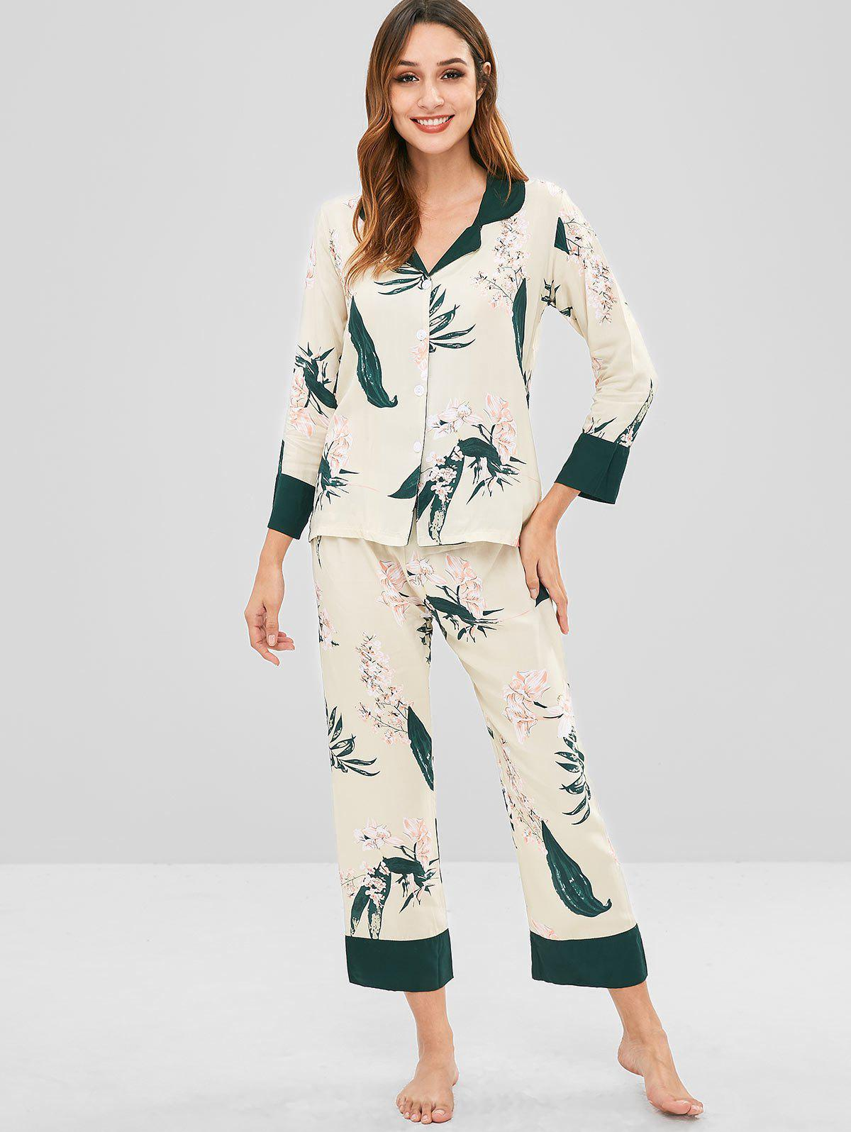 Flower Shirt and Pants Pajama Set