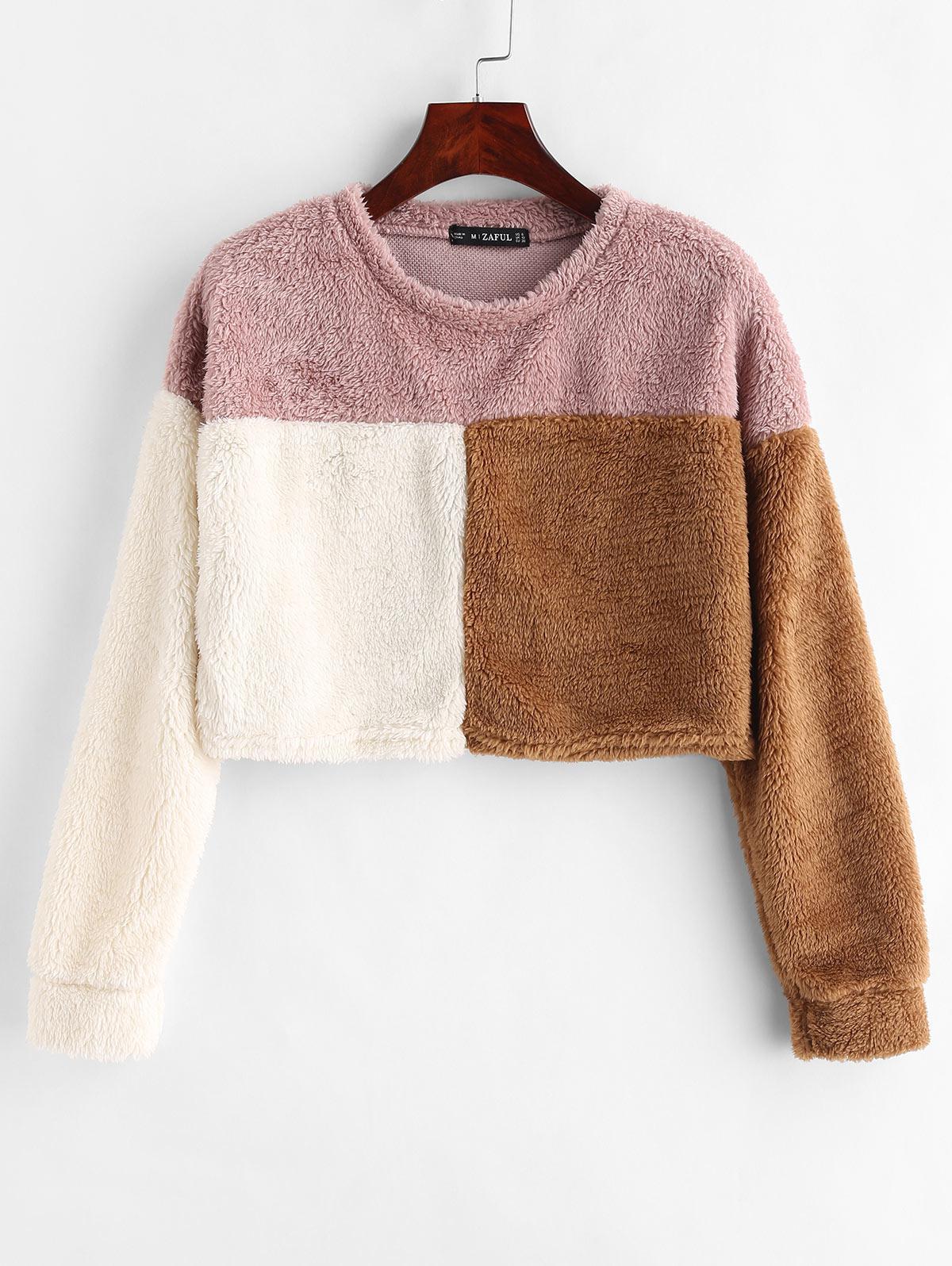 ZAFUL Three Tone Crop Fluffy Sweatshirt фото
