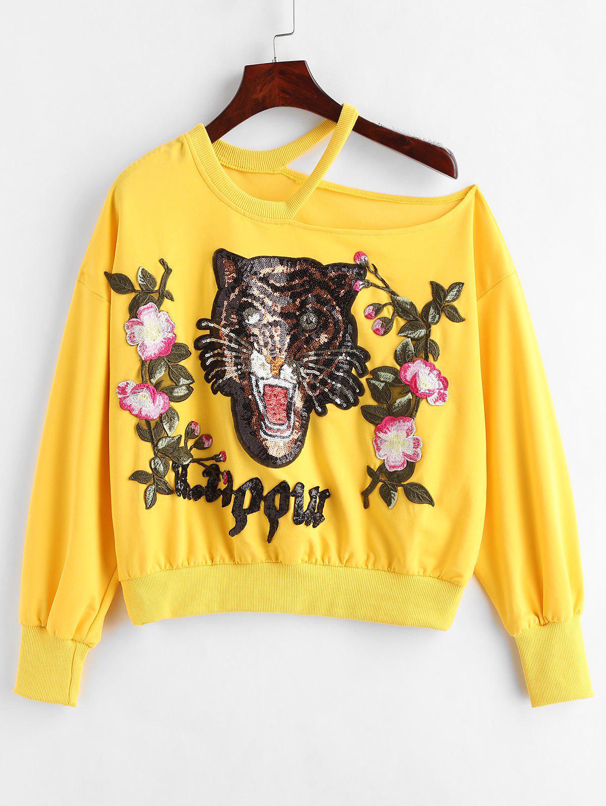 Sequins Applique Tiger Slit Sweatshirt фото