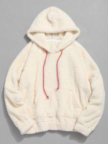 الكنغر جيب عادي فو الفراء هوديي - الأبيض الدافئ S