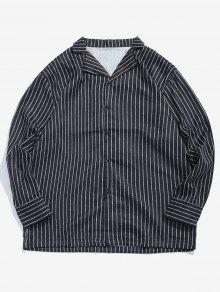 قميص كلاسيكي مخطط بياقة مدببة - أسود M