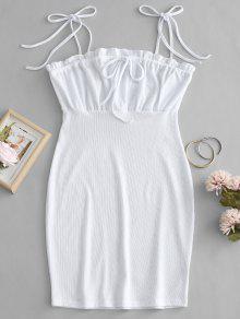 التعادل الكتف الكشكشة البسيطة اللباس - أبيض S