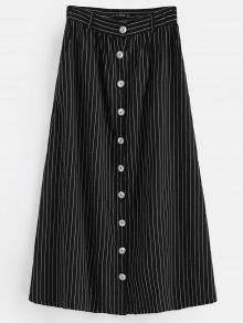 ZAFUL Button Up Stripes تنورة ماكسي - أسود L