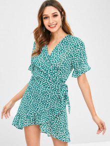 ZAFUL فستان من الكشكشة الورقية - متوسطة غابة خضراء L