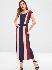 ZAFUL Stripes فستان ماكسي - متعدد M