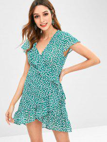 ZAFUL Ruffles Tiny Floral Wrap Dress - متوسطة غابة خضراء M