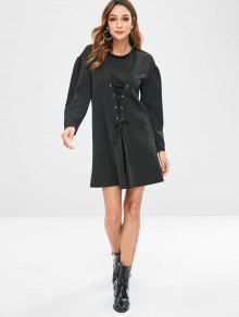 f23713b1335c 36% OFF] 2019 Puff Long Sleeve Lace Up Corset Dress In BLACK | ZAFUL