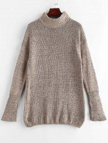 Mock Neck Shift Sweater Dress - أسمر