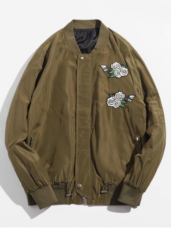 latest Rose Embroidered Bomber Jacket - KHAKI L