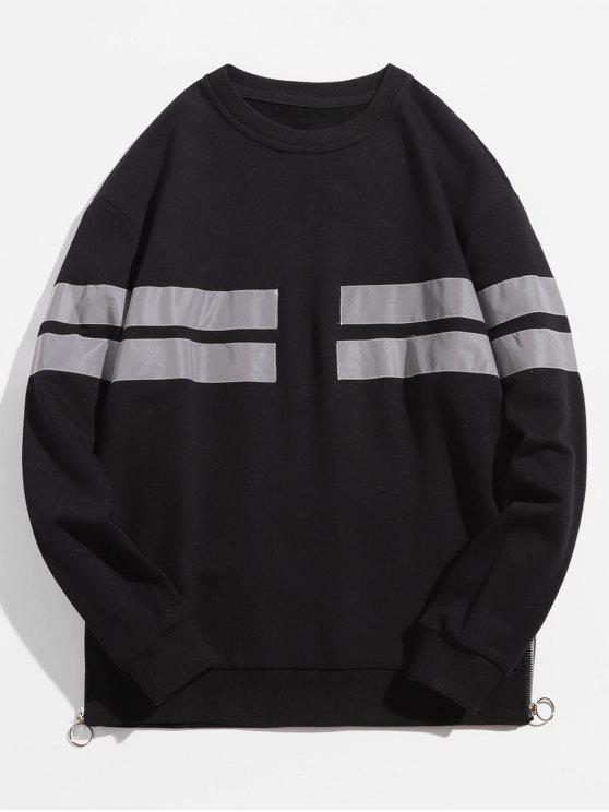 womens Reflective Stripe Side Zip Hem Sweatshirt - BLACK S
