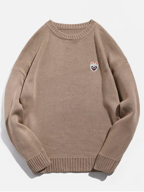 13cdad63b8763f 32% OFF] 2019 Animal Embroidery Pullover Crew Neck Sweater In CAMEL ...