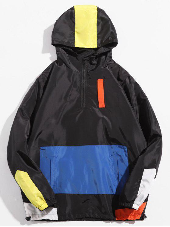 shops Half Zip Hooded Panel Jacket - BLACK S