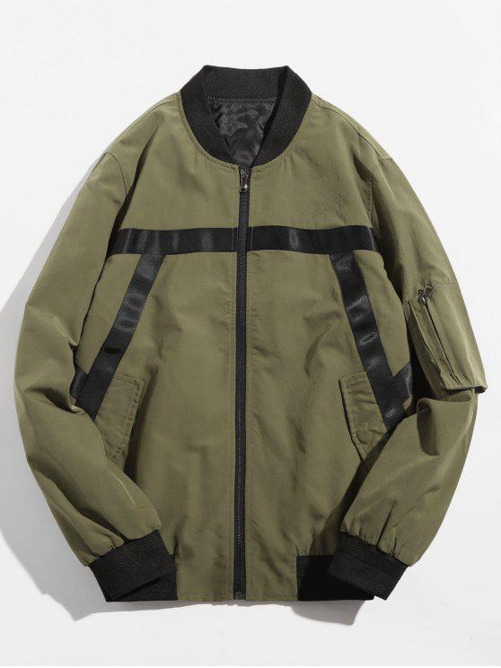 new Stripe Splicing Contrast Bomber Jacket - ARMY GREEN 2XL