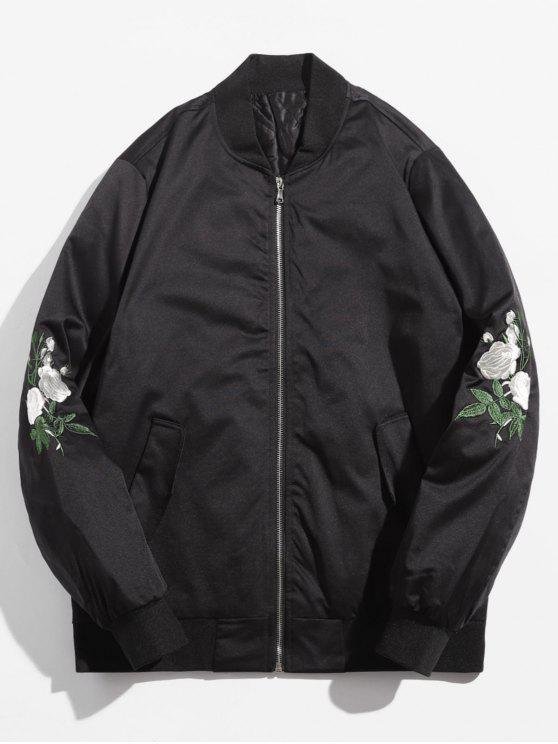latest Rose Embroidered Lined Bomber Jacket - BLACK M