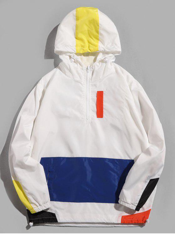 fancy Half Zip Hooded Panel Jacket - WHITE XL