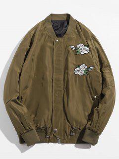 Rose Embroidered Bomber Jacket - Khaki S