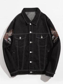 Sleeve Eagle Embroidered Stitch Denim Jacket - Black L