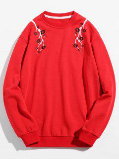 Flower Embroidered Pullover Sweatshirt - Red Xs