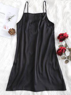 Robe Lingerie à Bretelle Réglable En Satin - Noir M