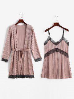 Vestido De Dormir Con Aplicación De Encaje De Terciopelo Y Bata De Dormir - Lápiz Labial Rosa Xl