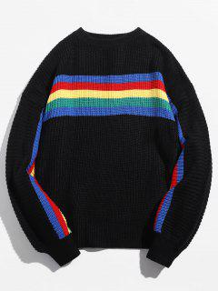 Colorful Rainbow Striped Pullover Sweater - Black M